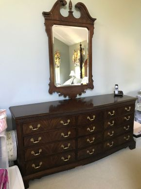 Lot 088 12 Drawer Heritage Dresser Some Damage With 55 Inch  Mirror 34H x 21W x 74L PICK UP IN GARDEN CITY