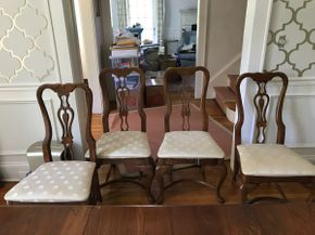 Lot 092 Lot Of Oak Chairs with Fabric Seats Some stains As IS 39H x 19W x 20L PICK UP IN GARDEN CITY