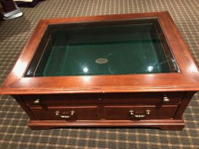 Lot 098 Orvis wood and Glass Top Coffee Table Some Damage ASIS 21H x 34.5W x 46L PICK UP IN GARDEN CITY