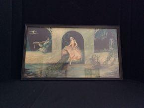 Lot 018 Vintage Tsanya Framed Print Peacock Garden ITEM CAN BE PICKED UP IN GARDEN CITY