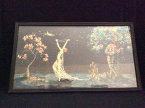 Lot 022 Vintage Tsanya Framed Print Harlequin ITEM CAN BE PICKED UP IN GARDEN CITY