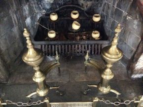 Lot 073 Brass Andirons For Fireplace  ITEM CAN BE PICKED UP IN GARDEN CITY