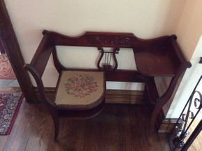 Lot 075 Mahogany Telephone Bench with Needle Point Seat ITEM CAN BE PICKED UP IN GARDEN CITY
