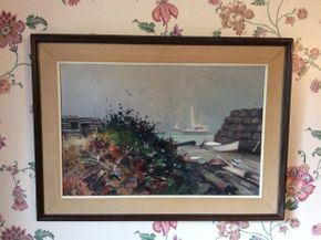 Lot 078 Signed SG Maniatty Monhegan Island Maine Oil on Canvas  ITEM CAN BE PICKED UP IN GARDEN CITY