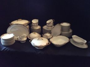 Lot 082 Lot of Limoges Service for 12 China  ITEM CAN BE PICKED UP IN GARDEN CITY