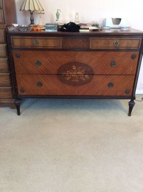 Lot 001 Gans Brothers Early 20th Century Inlaid 3 Drawer Dresser  ITEM CAN BE PICKED UP IN LAWRENCE