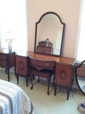 Lot 004 Gans Brothers Early 20th Century Wood Inlaid Vanity with Bench and Mirror ITEM CAN BE PICKED UP IN LAWRENCE