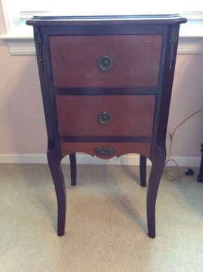 Lot 005 Gans Brothers Early 20th Century Wood Inlaid Night Stand   ITEM CAN BE PICKED UP IN LAWRENCE