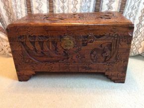 Lot 009 Wood Carved Asian Chest  ITEM CAN BE PICKED UP IN LAWRENCE