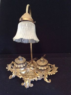 Lot 014 Brass Inkwell Lamp ITEM CAN BE PICKED UP IN LAWRENCE