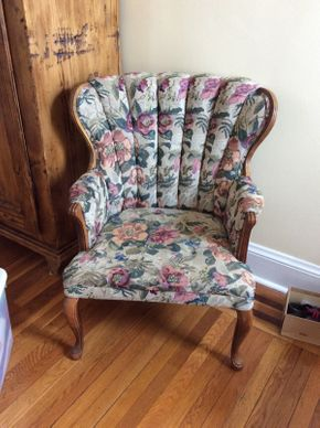 Lot 023 Upholstered Scalloped Back Chair  ITEM CAN BE PICKED UP IN ROCKVILLE CENTRE