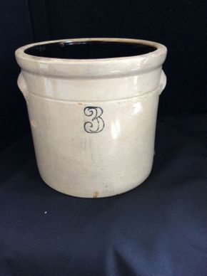 Lot 036 3 Gallon Crock 10 inches tall  ITEM CAN BE PICKED UP IN ROCKVILLE CENTRE