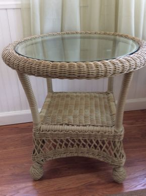 Lot 050  Wicker End Table with Glass Top EXCELLENT CONDITION  ITEM CAN BE PICKED UP IN ROCKVILLE CENTRE