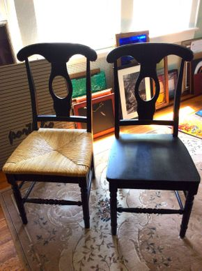 Lot 055 Pair of Wood and Rush Seat Chairs Black ITEM CAN BE PICKED UP IN ROCKVILLE CENTRE