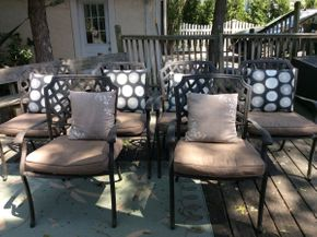 Lot 060 Lot of 6 Cast Iron Outdoor Chairs with Cushions ITEM CAN BE PICKED UP IN ROCKVILLE CENTRE