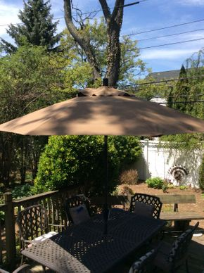 Lot 061 Outdoor Umbrella with StandITEM CAN BE PICKED UP IN ROCKVILLE CENTRE