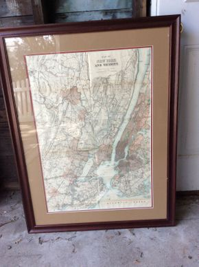 Lot 064 Framed Map of New York and Vicinity Circa 1884  ITEM CAN BE PICKED UP IN ROCKVILLE CENTRE