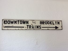 Lot 092 Wood Brooklyn Downtown Train Sign ITEM CAN BE PICKED UP IN ROCKVILLE CENTRE