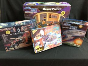 Lot 040 Star Trek Bridge  and Engineering Play sets USS Enterprise, and Collectors Case