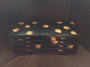 Lot 039 Japanese Black Lacquer 1950 Jewelry Box  ITEM CAN BE PICKED UP IN ROCKVILLE CENTRE
