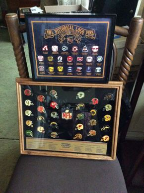 Lot 042 Lot of Framed Football and Hockey Pins  ITEM CAN BE PICKED UP IN ROCKVILLE CENTRE