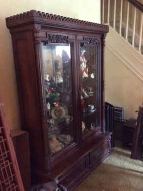 Lot 084 Carved Mahogany Wood Display Cabinet  ITEM CAN BE PICKED UP IN ROCKVILLE CENTRE