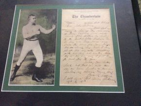 Lot 051 Framed Letter and Portrait John L. Sullivan with Authenticity    ITEM CAN BE PICKED UP IN ROCKVILLE CENTRE