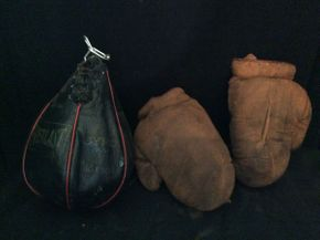 Lot 077 Speed Bag and Sparring Gloves  ITEM CAN BE PICKED UP IN ROCKVILLE CENTRE