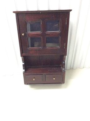 Lot 090 Henkel Harris Genuine Mahogany Hanging Wood Curio Cabinet  ITEM CAN BE PICKED UP IN GLEN COVE