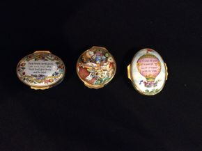 Lot 013 Lot of 3 Halcyon Days Enamel Pill Boxes  ITEM CAN BE PICKED UP IN GARDEN CITY