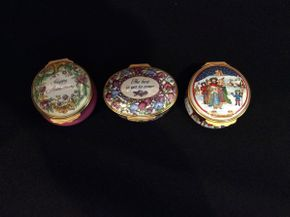 Lot 014 Lot of 3 Halcyon Days Enamel Pill Boxes  ITEM CAN BE PICKED UP IN GARDEN CITY