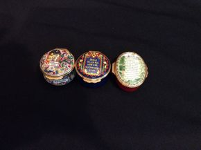 Lot 015 Lot of 3 Halcyon Days Enamel Pill Boxes  ITEM CAN BE PICKED UP IN GARDEN CITY