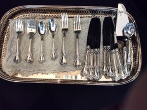 Lot 027 Lot of Old Master Sterling Silver Flatware with Silverplated Tray   ITEM CAN BE PICKED UP IN GARDEN CITY
