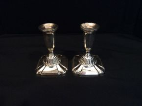 Lot 026 Pair of Sterling Silver Candle Stick Holders   ITEM CAN BE PICKED UP IN GARDEN CITY