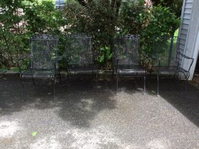Lot 043 Lot of 4 Wrought Iron Outdoor Arm Chairs  ITEM CAN BE PICKED UP IN GARDEN CITY