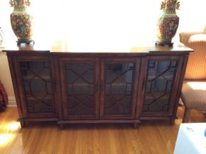 Lot 049 Decorative 4 Door Buffet   ITEM CAN BE PICKED UP IN GARDEN CITY