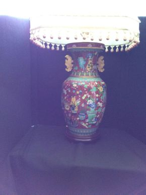 Lot 050 Vase Converted To Lamp From Mainland China   ITEM CAN BE PICKED UP IN GARDEN CITY