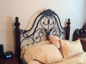 Lot 055 Wood and Metal Decorative Headboard   ITEM CAN BE PICKED UP IN GARDEN CITY