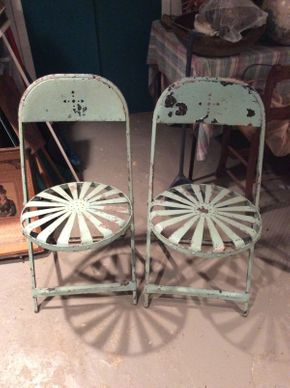 Lot 005 Lot of 4 Antique Pinwheel Garden Chairs  ITEM CAN BE PICKED UP IN OCEANSIDE
