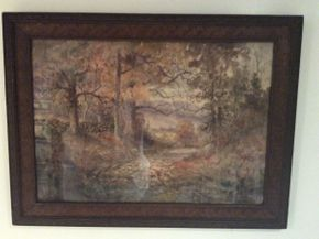 Lot 006 Framed 1890 Watercolor, The Autumn Ramble Signed Wedworth Wadsworth ITEM CAN BE PICKED UP IN OCEANSIDE