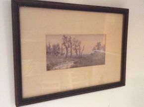 Lot 007 Framed 1800 Watercolor Signed Wedworth Wadsworth  ITEM CAN BE PICKED UP IN OCEANSIDE