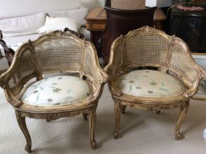 Lot 005 Pair of French Provincial Fruitwood Caned Chairs ITEM CAN BE PICKED UP IN GREAT NECK