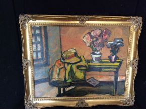 Lot 009 Faulvest Still Life Unsiged Oil on Board   ITEM CAN BE PICKED UP IN GLEN HEAD