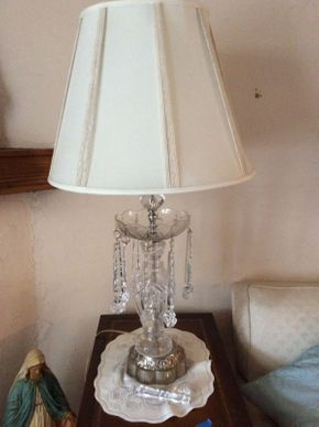 Lot 020 Pair of Crystal Luster Lamps ITEM CAN BE PICKED UP IN MINEOLA