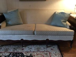 Lot 022 Custom Upholstered Mahogany Couch  ITEM CAN BE PICKED UP IN MINEOLA