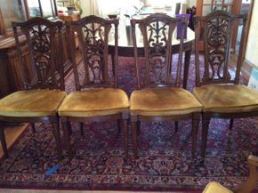 Lot 024 Lot of 6 Chairs Wood Frame Cushioned Seats  ITEM CAN BE PICKED UP IN MINEOLA