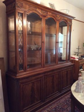 Lot 025 Large Wooden Glass Breakfront ITEM CAN BE PICKED UP IN MINEOLA