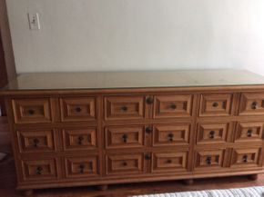 Lot 028 Wood 9 Drawer Dresser ITEM CAN BE PICKED UP IN MINEOLA
