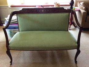 Lot 004 Mahogany Inlaid Upholstered settee 48L x 21D x 35T