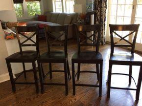 Lot 008 Lot Of 4 Black Wood Crate and Barrel Bar Stools 39H x 16.5D x 17.5L